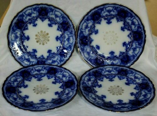 "4 Antique John Maddock & Sons Dainty Flow Blue Dinner Plates Gold Trim  9 5/8"""