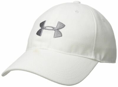 NWT UNDER ARMOUR 1310130 100 MEN'S CORE CANVAS DAD  WHITE/GRAY LOGO CAP HAT $25 ()
