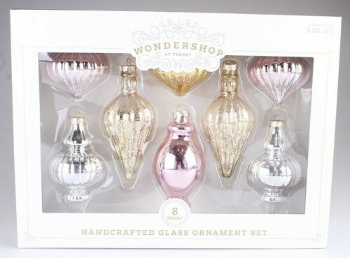 Wondershop 8 Pc Handcrafted Gold Pink Silver Glass Christmas Tree Ornaments Set