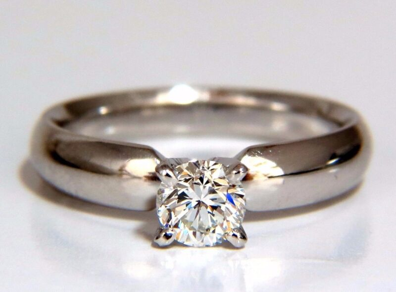 GIA Certified .51ct round cut diamond solitaire ring platinum classic G/Vs