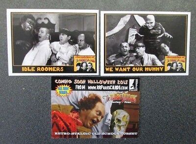THREE STOOGES CARDS HAPPY HALLOWEEN  PROMO  WE WANT OUR MUMMY,IDLE RUMORS + P-10 - Three Stooges Halloween