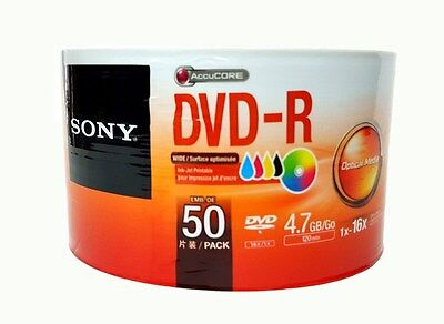 50 SONY Blank DVD-R DVDR Recordable White Inkjet Printable 16X 4.7GB Media Disc