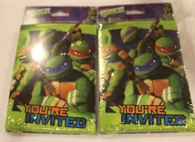 TEENAGE MUTANT NINJA TURTLES INVITATIONS (16) Birthday Party Invites 2 packs - Ninja Turtle Party Invitations