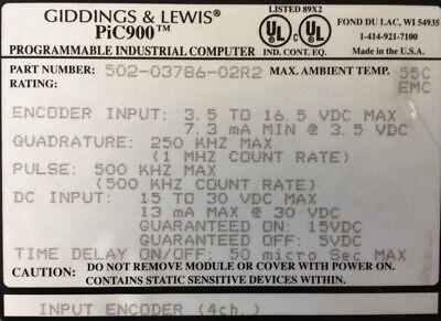 Giddings Lewis Plcs Pic900 Input Encoder 4 Channels 502-03786-02 R2