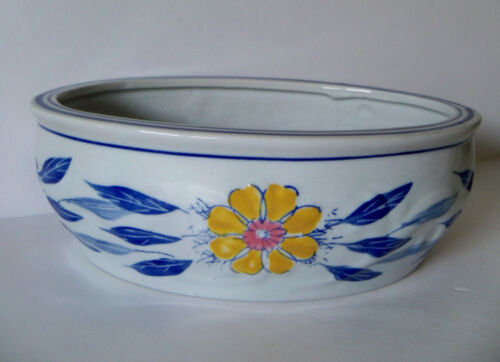 """Vintage AAA IMPORTS Blue Floral Flowers Garden Pottery Planter 3"""" x 9"""""""