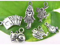 COL049 Alice in Wonderland Charm Collection Antique Silver Tone 19 Charms