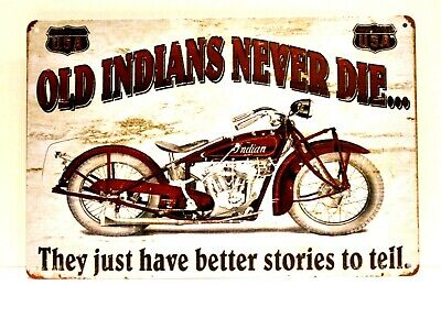New Indian Motorcycles Tin Metal Sign Vintage Style Advertisement Advertising