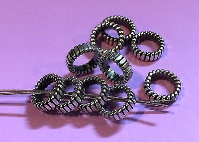 BALI 925 SILVER OXIDIZED 7mm TEMPERED COIL SPACER BEADS #3217 (5)