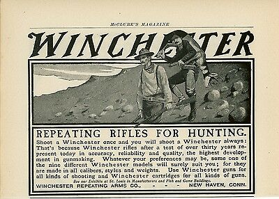 1904 Winchester Repeating Arms Co. Ad Rifle Hunting Gun Vintage Hunters Game