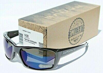 NATIVE EYEWEAR Wazee Sunglasses POLARIZED Gloss Black/Blue Reflex NEW (Native Sunglasses)