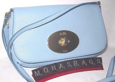 Coach Pale Blue Pebble Leather Turn Lock Crossbody Pouch Handbag F52896 NWT $195