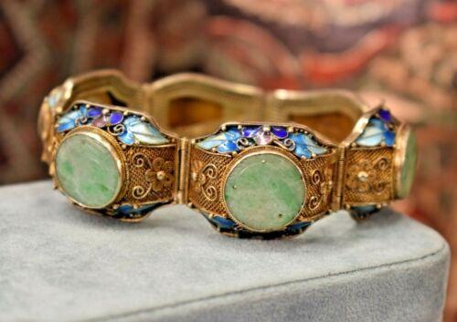 "Antique Jade Chinese silver filigree vermeil blue enamel bracelet 7"""