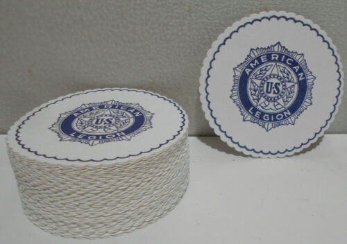 """Lot of 100 New Paper American Legion Drink Coasters 3 3/8"""" OD"""