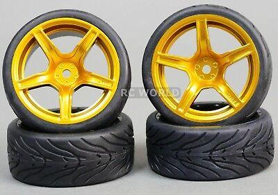 RC Car 1/10  WHEELS Tires SEMI-SLICK  3MM Offset GOLD 5 STAR  RIMS -SET OF 4-