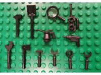 Black 6-Rib Handle Utensil Tool Open End Wrench 1 x Lego 6246e Minifig