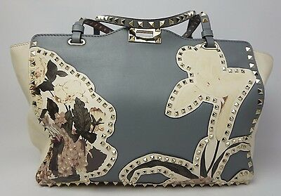 Valentino Rockstud Medium Tote Bag Leather Floral Print Light Blue Purse $4,445 for sale  Shipping to Canada