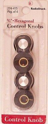 "3/4"" Inch Hexagonal Control Knobs 4/PK ~ RadioShack 274-415"