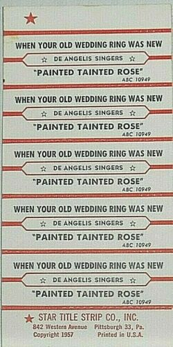"JUKEBOX TITLE STRIP SHEET - DE ANGELIS SINGERS ""Painted Tainted Rose"" ABC 10949"