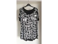 Yours Clothing Black And White Foil All Over Butterfly Print T-Shirt (Size 20)