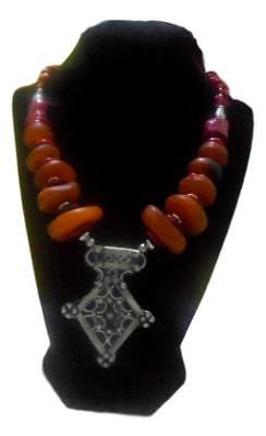 Handmade  Berber Moroccan Amber Coral Enameled Necklace