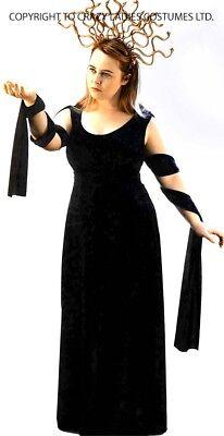k Mythos Neu! Schwarz Medusa Kleid & Kopfschmuck Alle Damen (Alle Schwarz Halloween-kostüm)