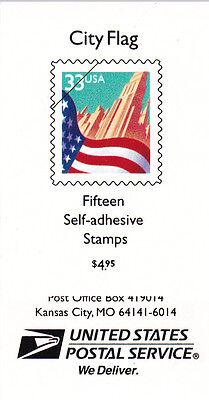 U.S. DEFINITIVE BOOKLET OF 15 SCOTTBK275 1999 33CT FLAG & CITY MINT PV1111
