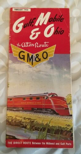 Vintage Gulf, Mobile and Ohio Alton Route February 1950 Pamphlet Information Map
