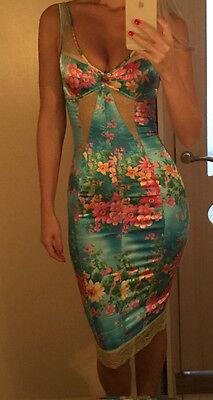 DOLCE & GABBANA ITALY blue floral print lace stretch dress IT size 40 SALE!