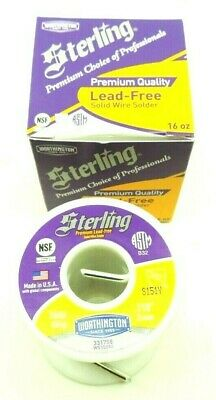 Sample Pack .15 Lb Lead Free Sterling Solder Worthington .118inch 3mm Dia