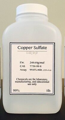 Copper Sulfate Cuso4 5h2o Min. 99.6 Purity Med. Crystals 1 Pound Bottle