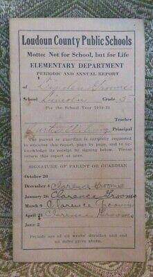 """Vintage 1930 Black Americana Lincoln """"Colored"""" School Loudoun Co VA report card"""