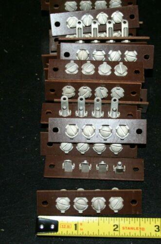 Lot Of (5) Vintage Phenolic Terminal Strips  4 Position Screw Type