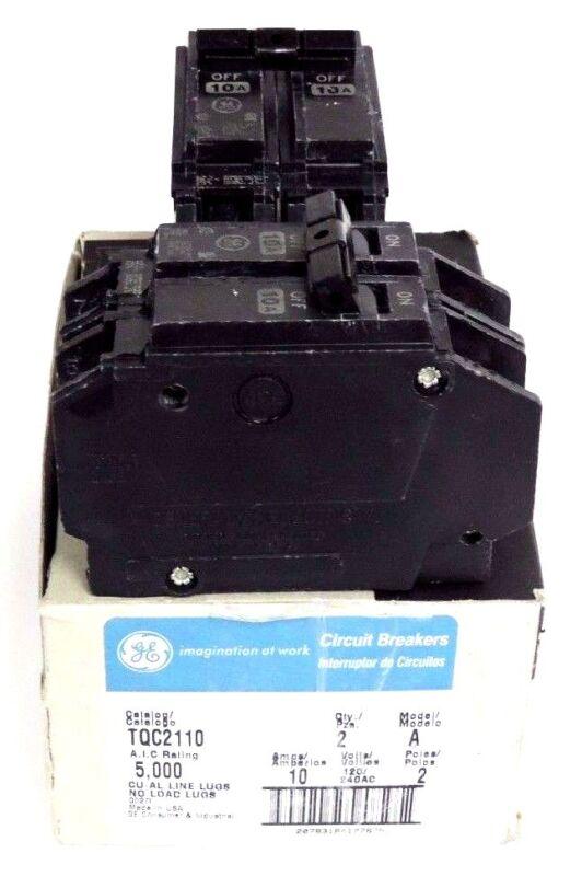 2 GENERAL ELECTRIC TQC2110 CIRCUIT BREAKERS MODEL A, 10A, 120/240VAC, 2 POLE