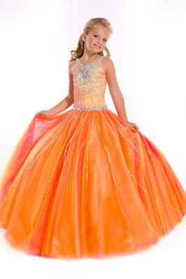 Perfect Angels 1533 Fuchsia Yellow Looks Orange Girls Pageant Gown Sz 8 Nwt