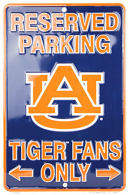 """AUBURN UNIVERSITY RESERVED PARKING TIGER FANS ONLY METAL SIGN MAN CAVE  8""""x 12"""""""
