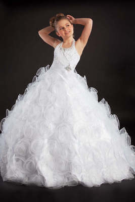 Perfect Angels 1414 White Rosette Girls Pageant Gown Dress sz 4 NWT FLASH SALE!](Girls Cheap Dresses)