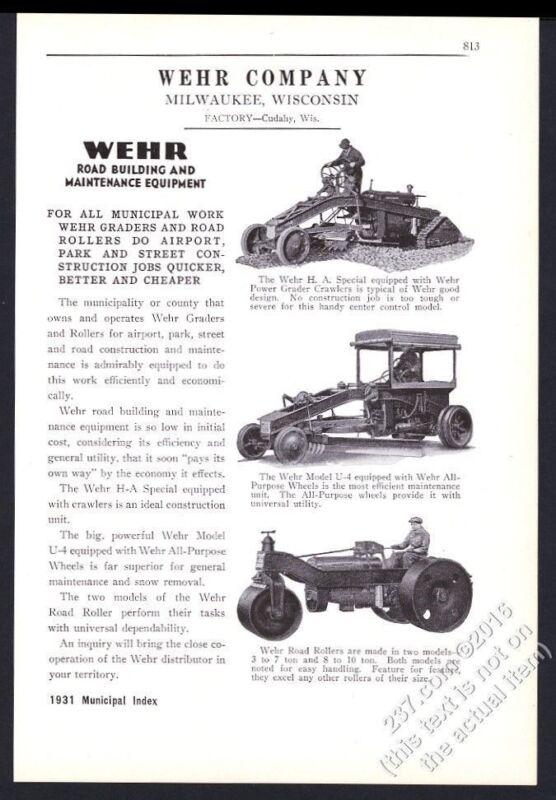 1931 Wehr road building equipment grader roller 3 photo vintage trade print ad
