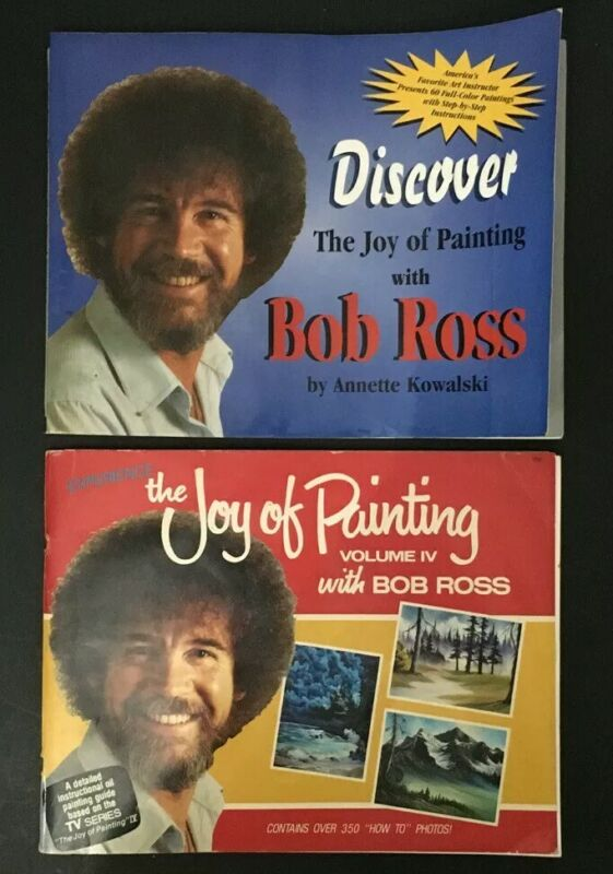 2 Bob Ross Experience & Discover The Joy of Painting Volumes IV 1985, 1998 Books
