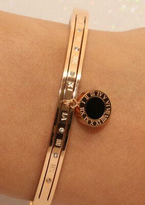 14k Rose Gold Finish Unique 0.25ct Diamond Bangle Bracelet 7.25