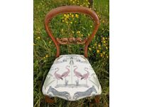 Beautiful Victorian balloon back chair - newly reupholstered