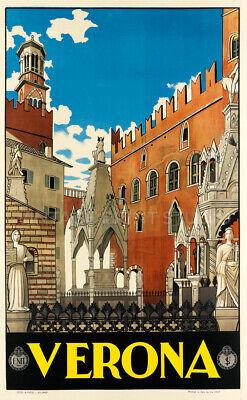 Verona 1928 Vintage Italian Travel Advertising Poster Giclee Canvas Print 20X32