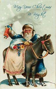 Vintage-Christmas-Fabric-Block-Santa-Claus-Donkey