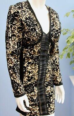 Vintage Deborah Pearson for Laura Jane Black Lace Bodycon Dress and Jacket Sz M