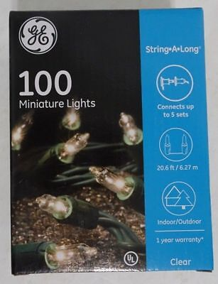 GE String-A-Long 100 Miniature Light Green Wire Clear String 20.6 ft Indoor/Out