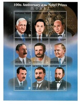 Guyana 1995 - 100th Anniversary of The Nobel Prizes - Sheet of 9 Stamps - MNH