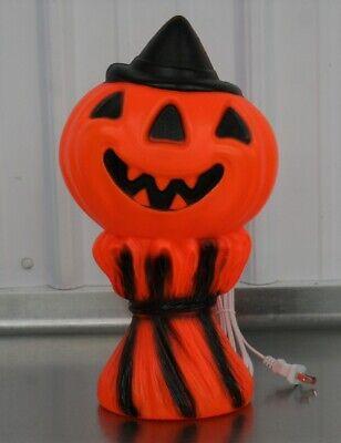 Vintage Plastic Pumpkin Jack O Lantern Blow Mold Hay Stack Scarecrow