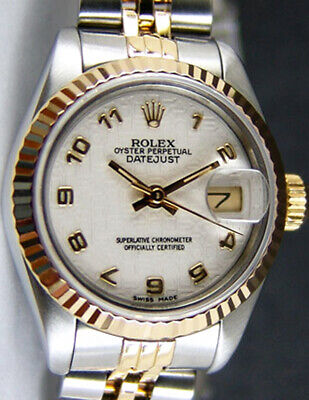 ROLEX Ladies 18kt Gold & SS 26mm DateJust White Jubilee Arabic 69173 SANT BLANC