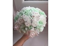 Ivory Rose Crystal Bouquet, Bridesmaid, Flowergirl Wand & Buttonholes - Mint/White