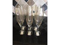 Denby Monsoon Lucille Gold Lustre Champagne Flues x 6