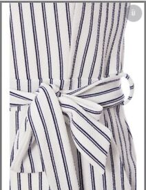 Striped navy and white play suit